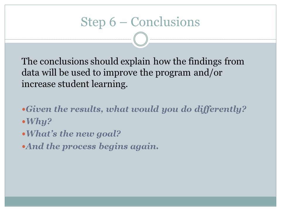 Step 6 – Conclusions The conclusions should explain how the findings from data will be used to improve the program and/or increase student learning.