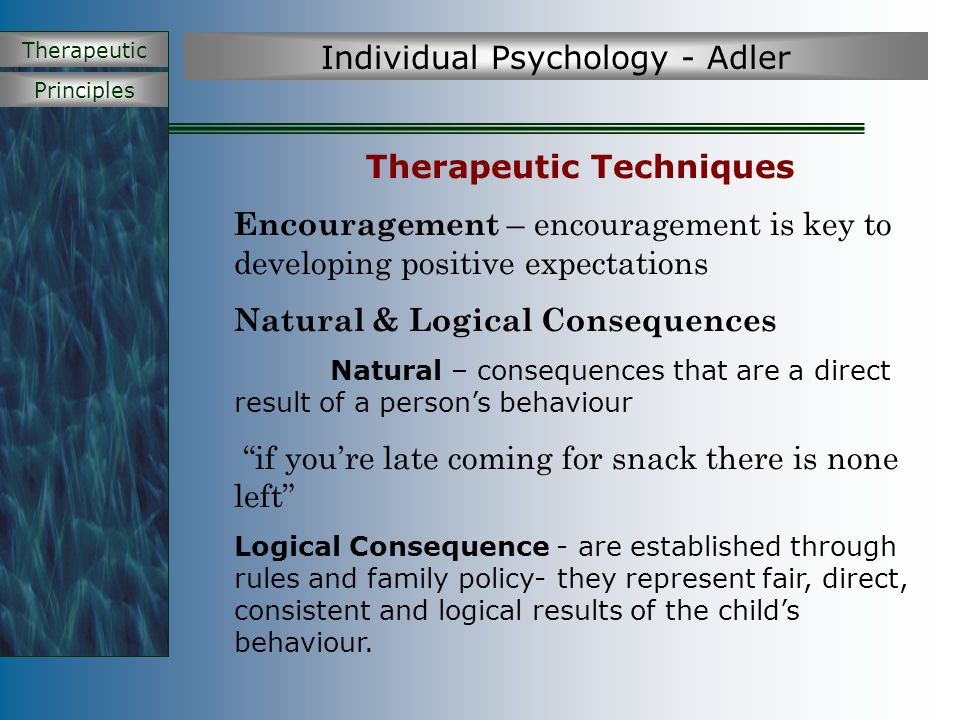 Principles Therapeutic Individual Psychology - Adler Therapeutic Techniques Encouragement – encouragement is key to developing positive expectations N