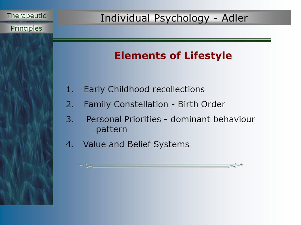 Principles Therapeutic Individual Psychology - Adler Elements of Lifestyle 1. Early Childhood recollections 2. Family Constellation - Birth Order 3. P