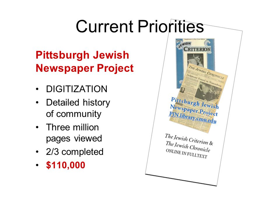 DIGITIZATION Detailed history of community Three million pages viewed 2/3 completed $110,000 Current Priorities Pittsburgh Jewish Newspaper Project
