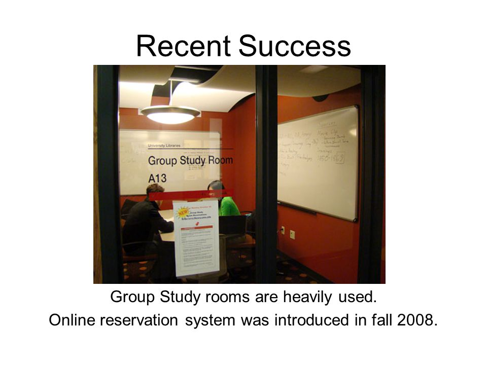 Recent Success Group Study rooms are heavily used.