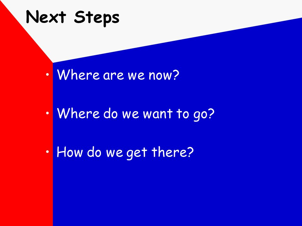 Next Steps Where are we now? Where do we want to go? How do we get there?
