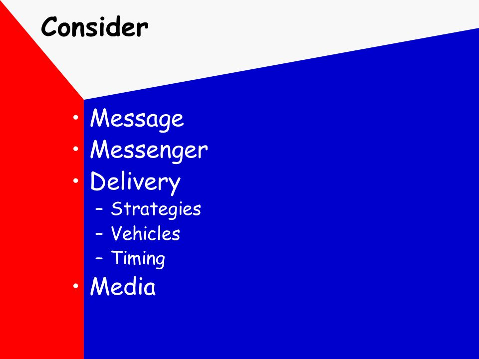 Consider Message Messenger Delivery –Strategies –Vehicles –Timing Media