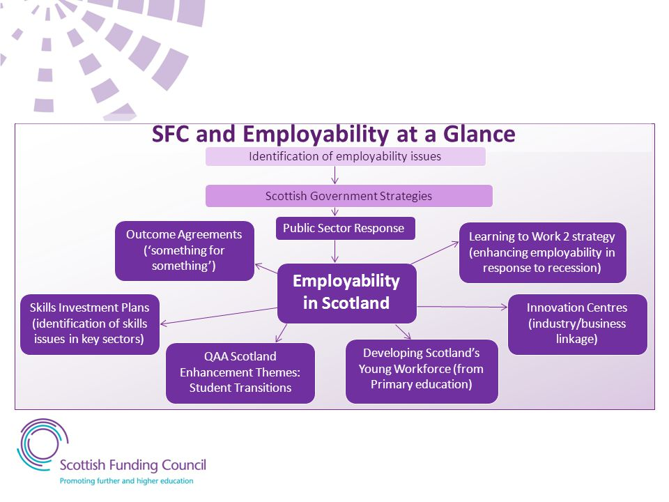 SFC and Employability at a Glance Employability in Scotland Innovation Centres (industry/business linkage) Learning to Work 2 strategy (enhancing empl