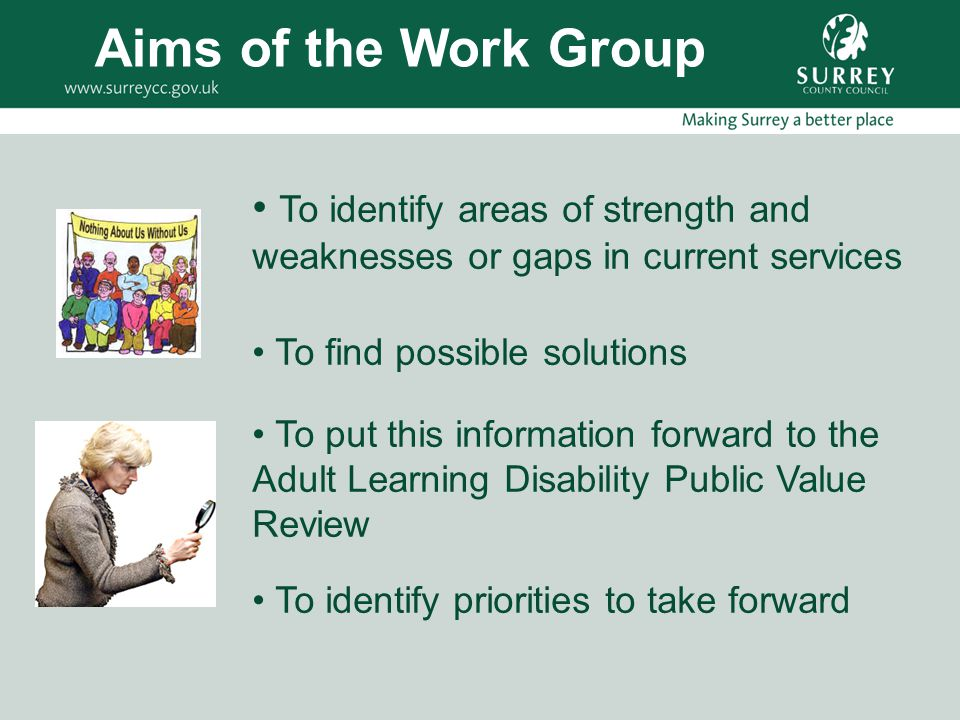 To identify areas of strength and weaknesses or gaps in current services To find possible solutions To put this information forward to the Adult Learn