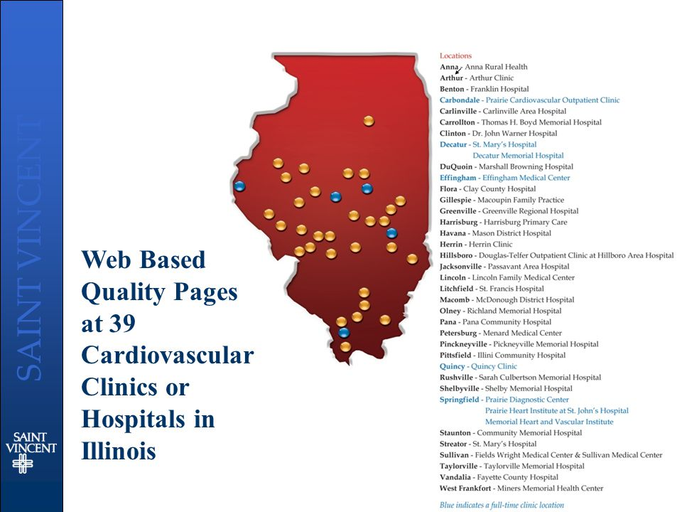 SAINT VINCENT Web Based Quality Pages at 39 Cardiovascular Clinics or Hospitals in Illinois