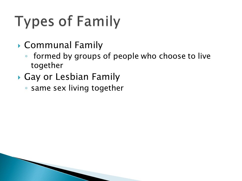  Communal Family ◦ formed by groups of people who choose to live together  Gay or Lesbian Family ◦ same sex living together