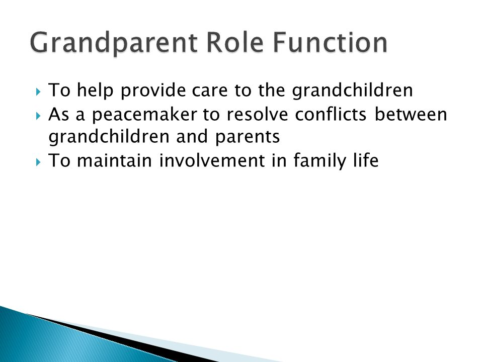  To help provide care to the grandchildren  As a peacemaker to resolve conflicts between grandchildren and parents  To maintain involvement in family life