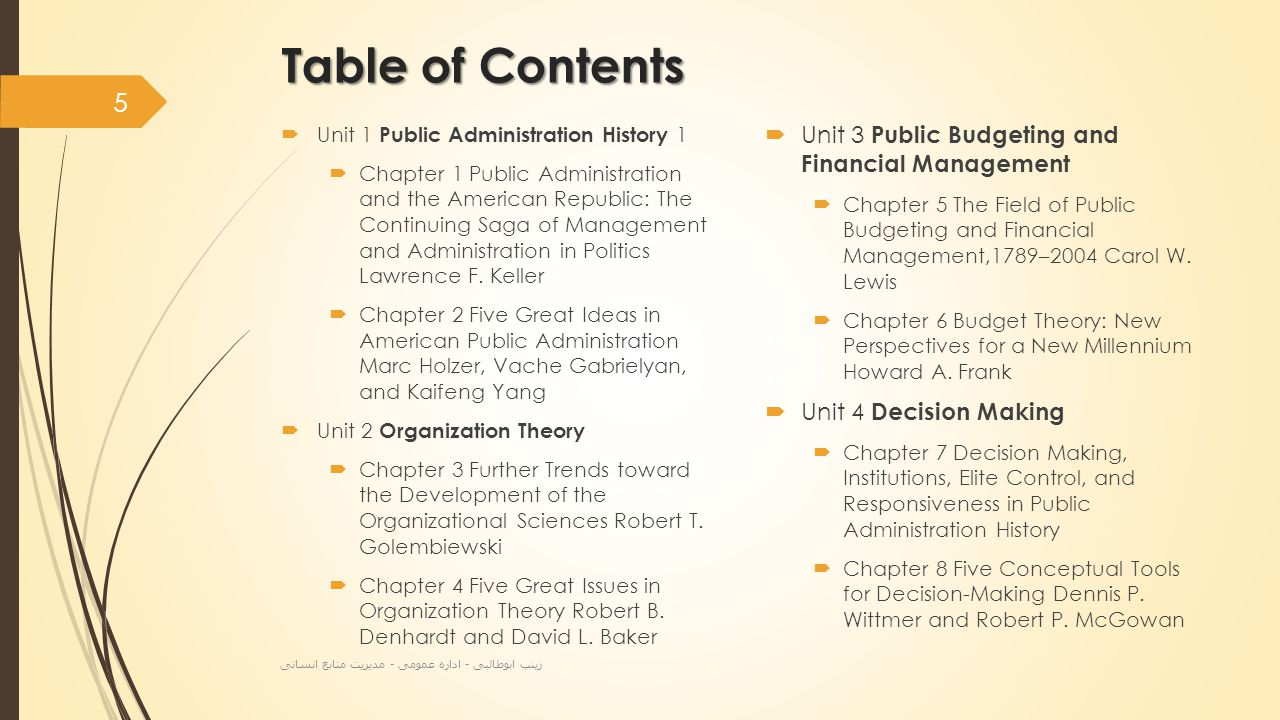 Table of Contents  Unit 1 Public Administration History 1  Chapter 1 Public Administration and the American Republic: The Continuing Saga of Management and Administration in Politics Lawrence F.
