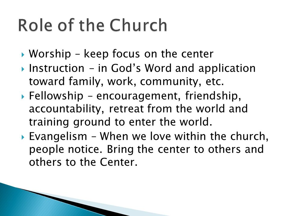  Worship – keep focus on the center  Instruction – in God's Word and application toward family, work, community, etc.