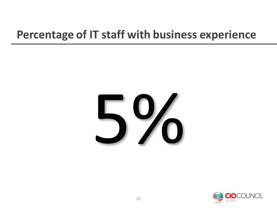 Percentage of IT staff with business experience 15