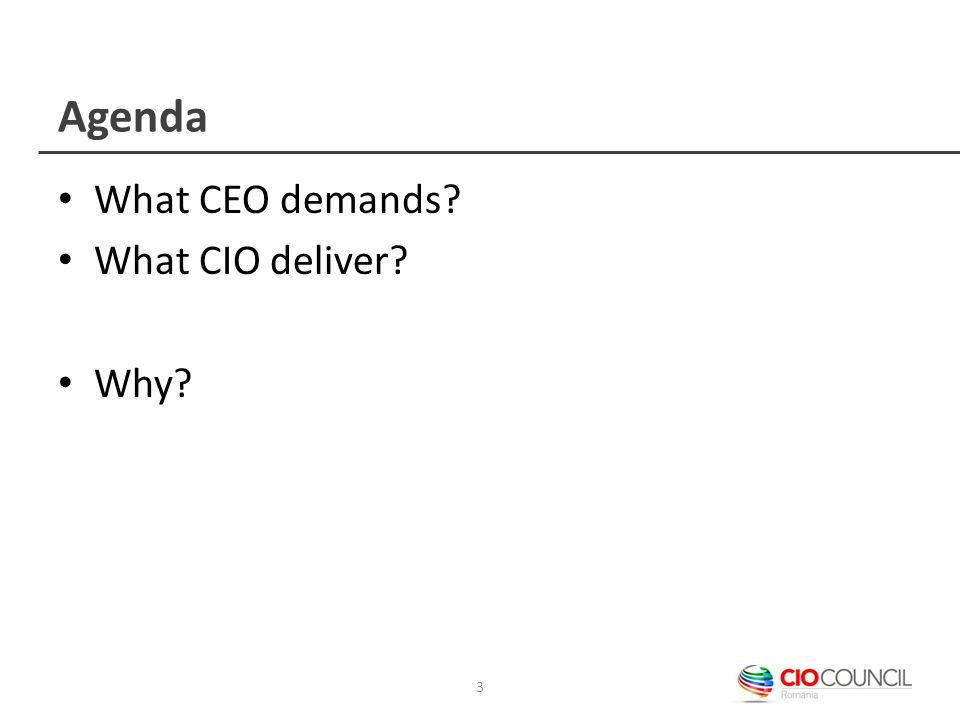 Agenda What CEO demands? What CIO deliver? Why? 3