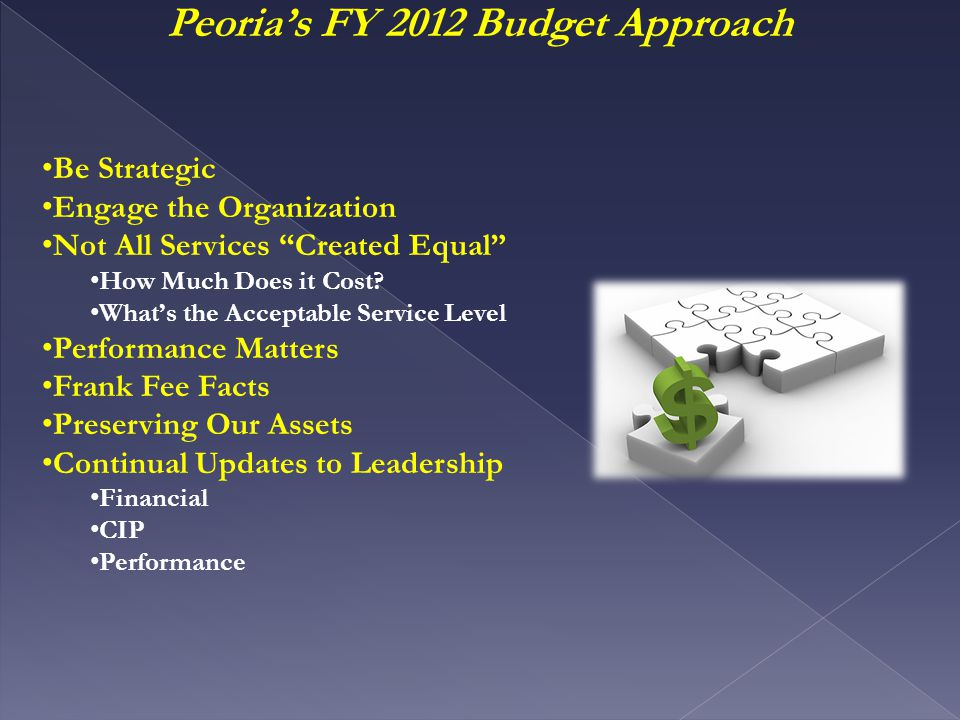 Peoria's FY 2012 Budget Approach Be Strategic Engage the Organization Not All Services Created Equal How Much Does it Cost.