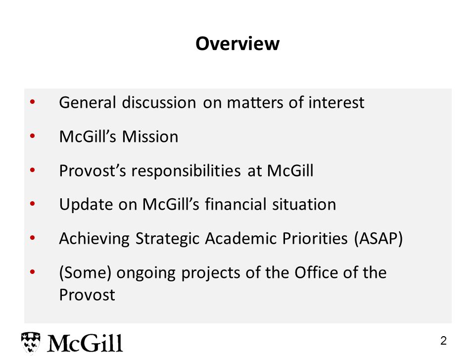 1 Provost's update on budget and strategic plan SSMU Council Prof.