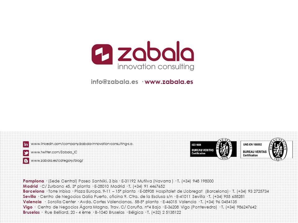 info@zabala.es · www.zabala.es Pamplona · (Sede Central) Paseo Santxiki, 3 bis · E-31192 Mutilva (Navarra ) · T. (+34) 948 198000 Madrid · C/ Zurbano