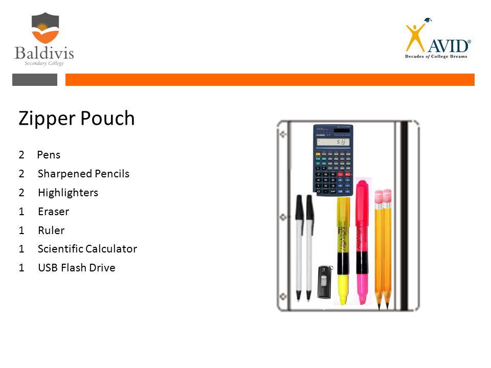 2Pens 2 Sharpened Pencils 2 Highlighters 1Eraser 1Ruler 1Scientific Calculator 1 USB Flash Drive Zipper Pouch