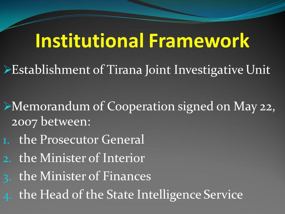 Institutional Framework  Establishment of Tirana Joint Investigative Unit  Memorandum of Cooperation signed on May 22, 2007 between: 1.