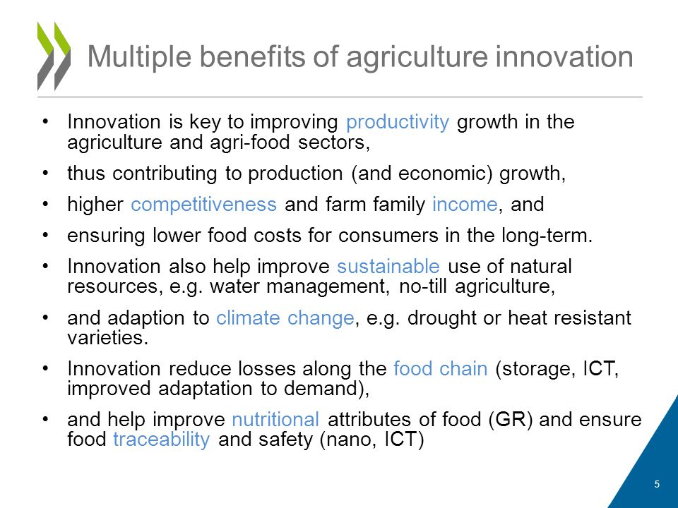 Multiple benefits of agriculture innovation Innovation is key to improving productivity growth in the agriculture and agri-food sectors, thus contribu