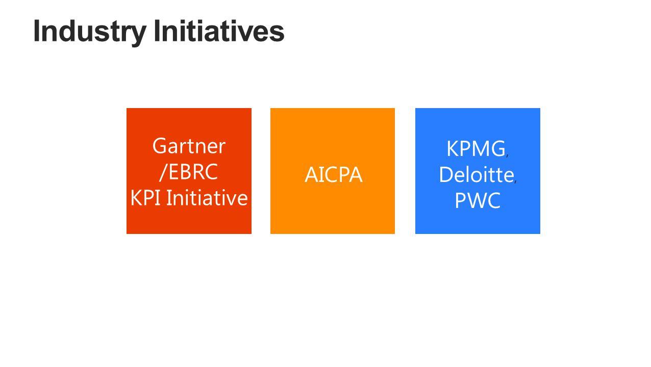 Gartner /EBRC KPI Initiative AICPA KPMG, Deloitte, PWC