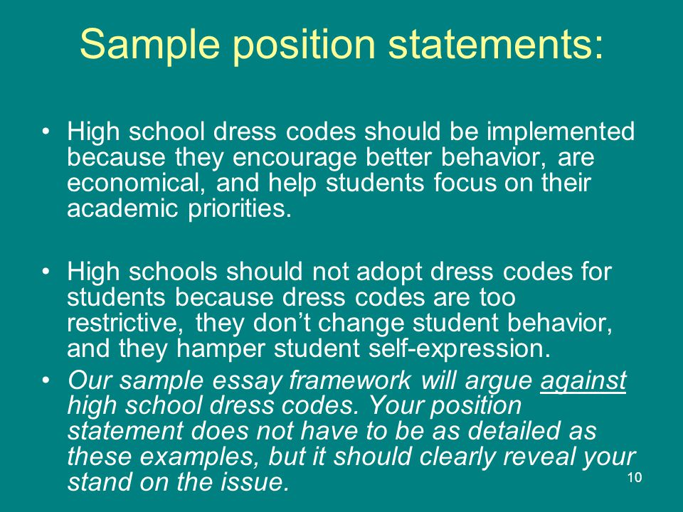 10 Sample position statements: High school dress codes should be implemented because they encourage better behavior, are economical, and help students focus on their academic priorities.
