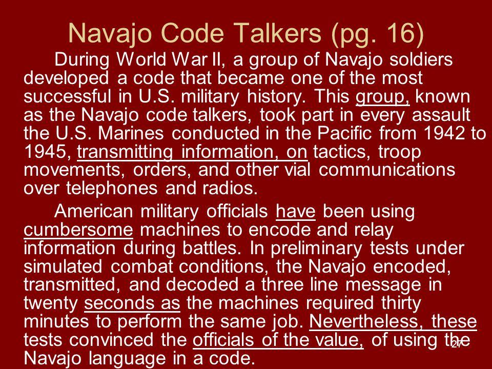 27 Navajo Code Talkers (pg.