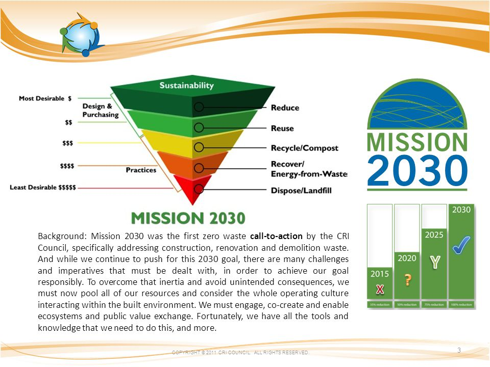 COPYRIGHT © 2011 CRI COUNCIL. ALL RIGHTS RESERVED. 3 Background: Mission 2030 was the first zero waste call-to-action by the CRI Council, specifically