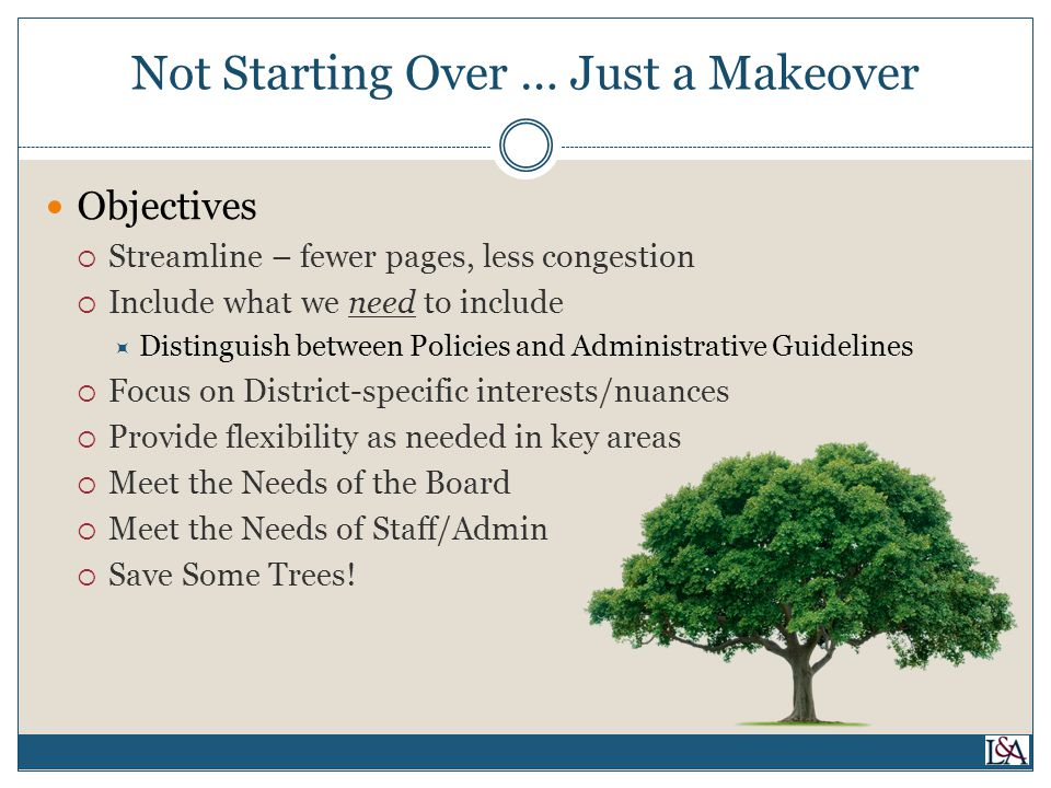 Not Starting Over … Just a Makeover Objectives  Streamline – fewer pages, less congestion  Include what we need to include  Distinguish between Policies and Administrative Guidelines  Focus on District-specific interests/nuances  Provide flexibility as needed in key areas  Meet the Needs of the Board  Meet the Needs of Staff/Admin  Save Some Trees!