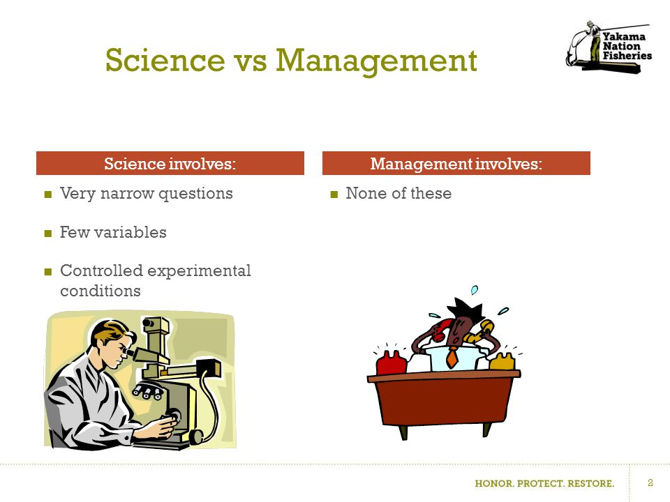 Science vs Management Very narrow questions Few variables Controlled experimental conditions None of these Science involves:Management involves: 2