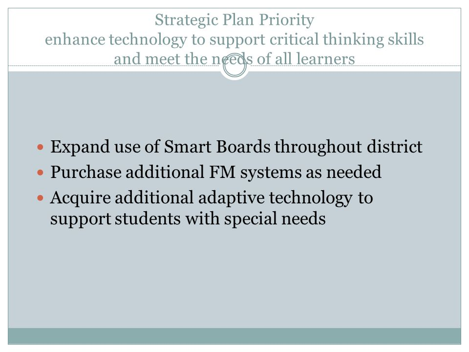 Strategic Plan Priority enhance technology to support critical thinking skills and meet the needs of all learners Expand use of Smart Boards throughou