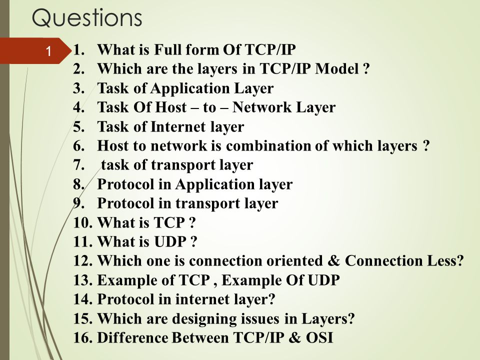 Questions 1.What is Full form Of TCP/IP 2.Which are the layers in TCP/IP Model ? 3.Task of Application Layer 4.Task Of Host – to – Network Layer 5.Tas