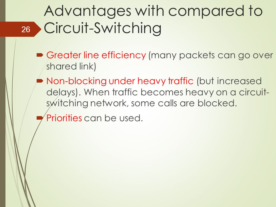 26 Advantages with compared to Circuit-Switching  Greater line efficiency (many packets can go over shared link)  Non-blocking under heavy traffic (