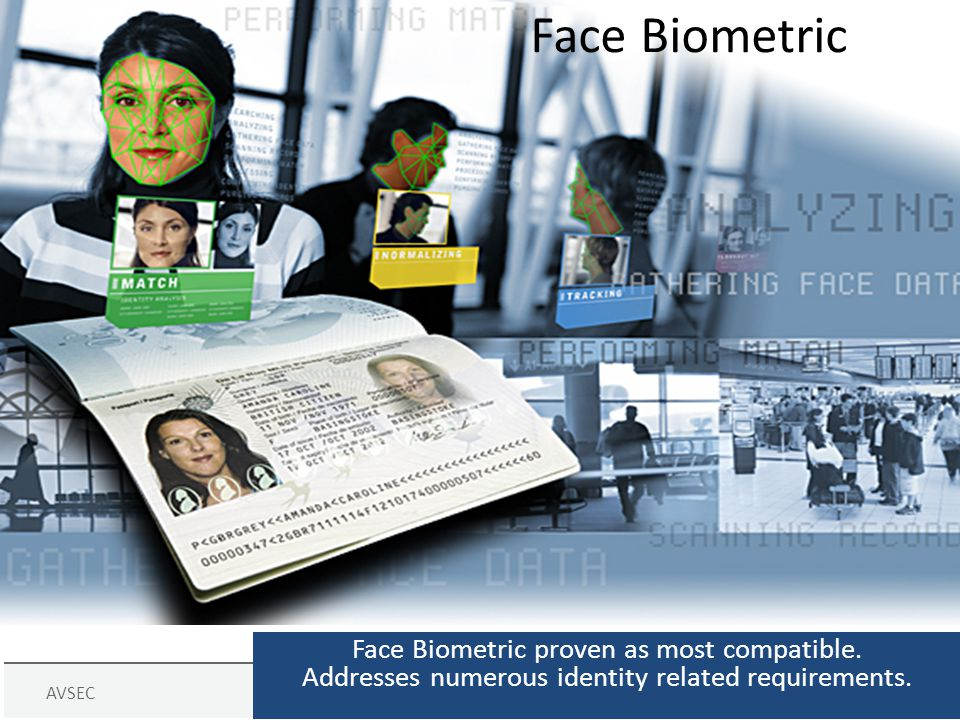 AVSECPage 19 Face Biometric Face Biometric proven as most compatible. Addresses numerous identity related requirements.