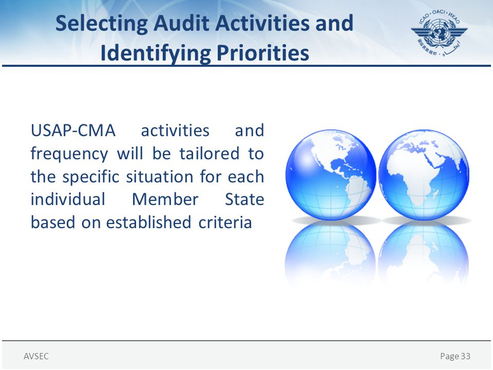 AVSECPage 33 Selecting Audit Activities and Identifying Priorities USAP-CMA activities and frequency will be tailored to the specific situation for ea