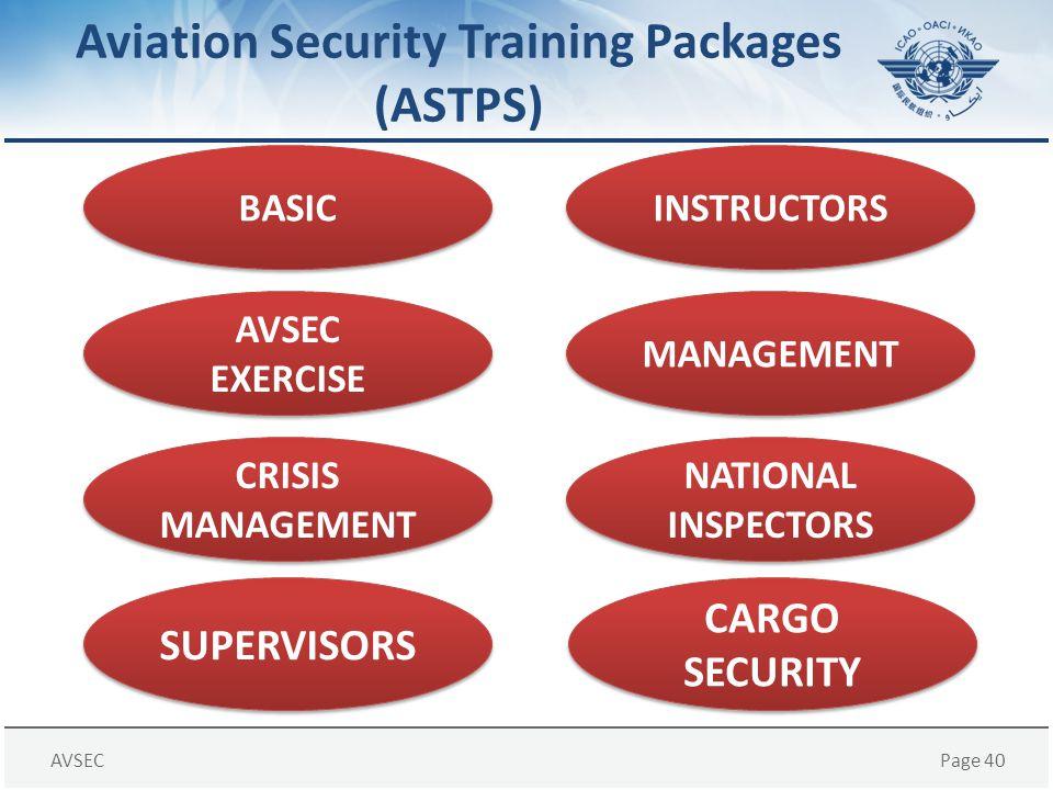 AVSECPage 40 Aviation Security Training Packages (ASTPS) BASIC NATIONAL INSPECTORS MANAGEMENT INSTRUCTORS AVSEC EXERCISE CRISIS MANAGEMENT SUPERVISORS