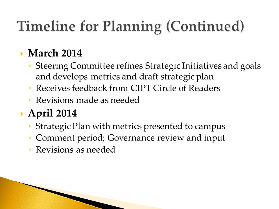  March 2014 ◦ Steering Committee refines Strategic Initiatives and goals and develops metrics and draft strategic plan ◦ Receives feedback from CIPT Circle of Readers ◦ Revisions made as needed  April 2014 ◦ Strategic Plan with metrics presented to campus ◦ Comment period; Governance review and input ◦ Revisions as needed