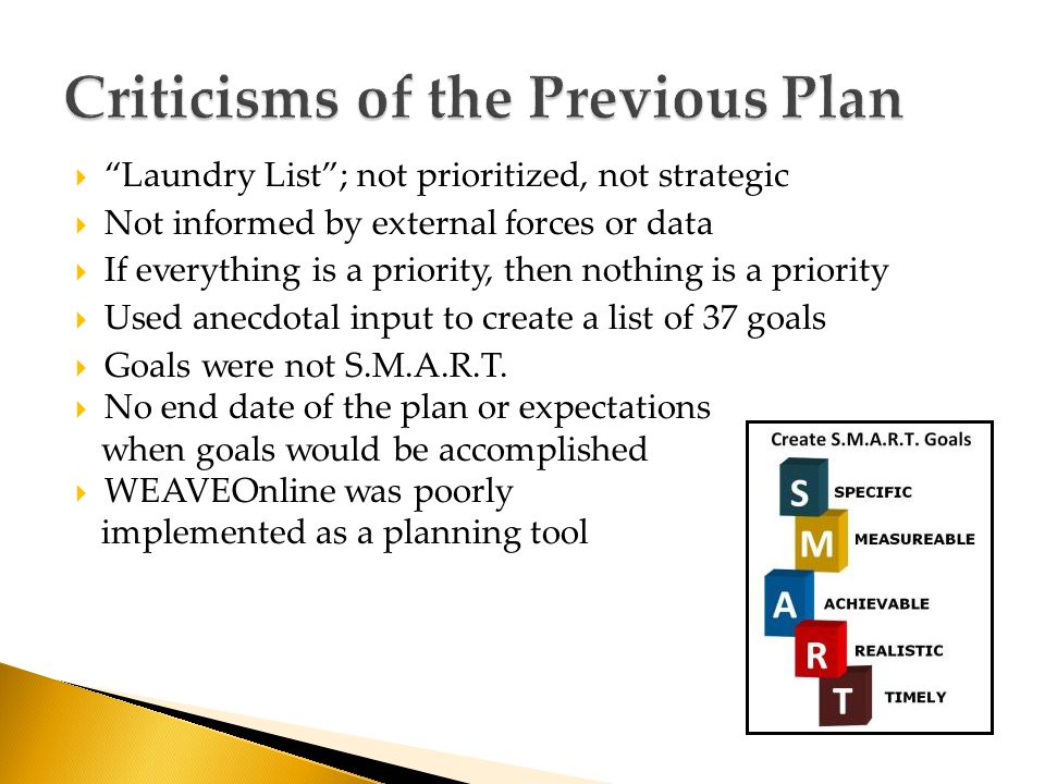  Laundry List ; not prioritized, not strategic  Not informed by external forces or data  If everything is a priority, then nothing is a priority  Used anecdotal input to create a list of 37 goals  Goals were not S.M.A.R.T.