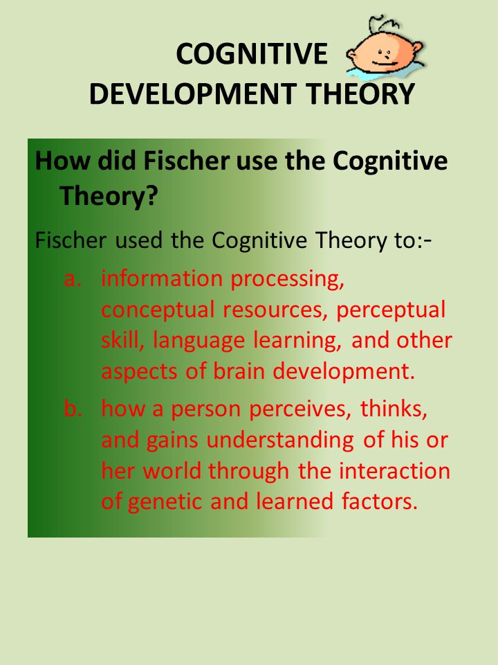 How did Fischer use the Cognitive Theory? Fischer used the Cognitive Theory to: - a.information processing, conceptual resources, perceptual skill, la