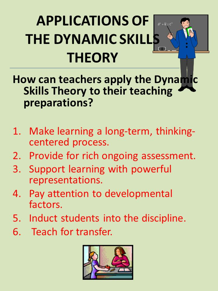 APPLICATIONS OF THE DYNAMIC SKILLS THEORY How can teachers apply the Dynamic Skills Theory to their teaching preparations? 1.Make learning a long-term