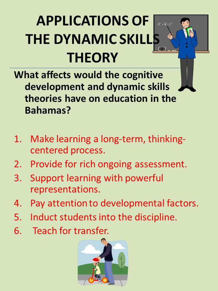 APPLICATIONS OF THE DYNAMIC SKILLS THEORY What affects would the cognitive development and dynamic skills theories have on education in the Bahamas? 1