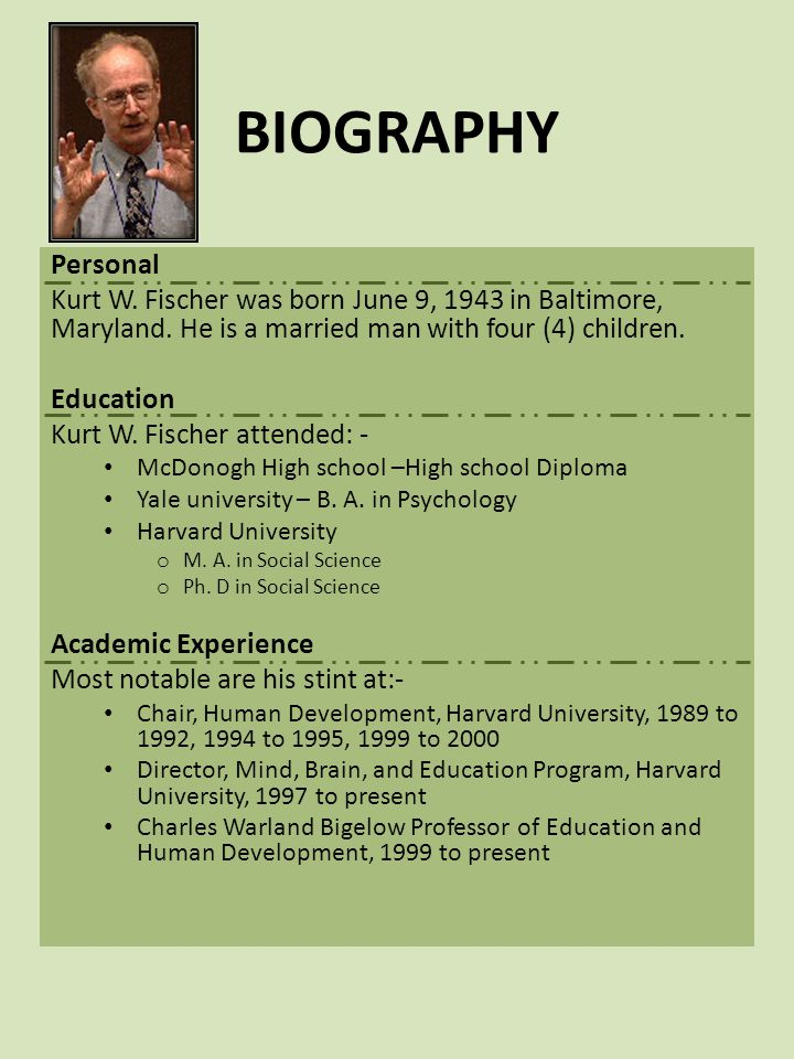 BIOGRAPHY Publications Include:- Fischer, K.W.(1980).