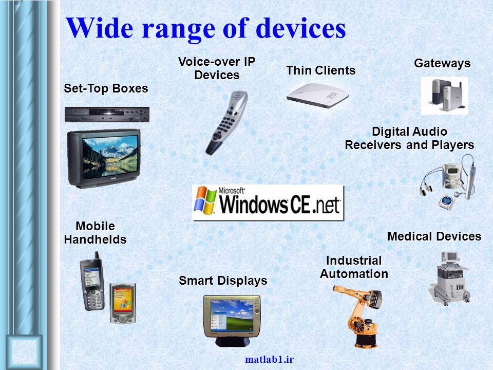 matlab1.ir Thin Clients Digital Audio Receivers and Players Smart Displays Voice-over IP Devices Medical Devices Industrial Automation Wide range of devices MobileHandhelds Set-Top Boxes Gateways