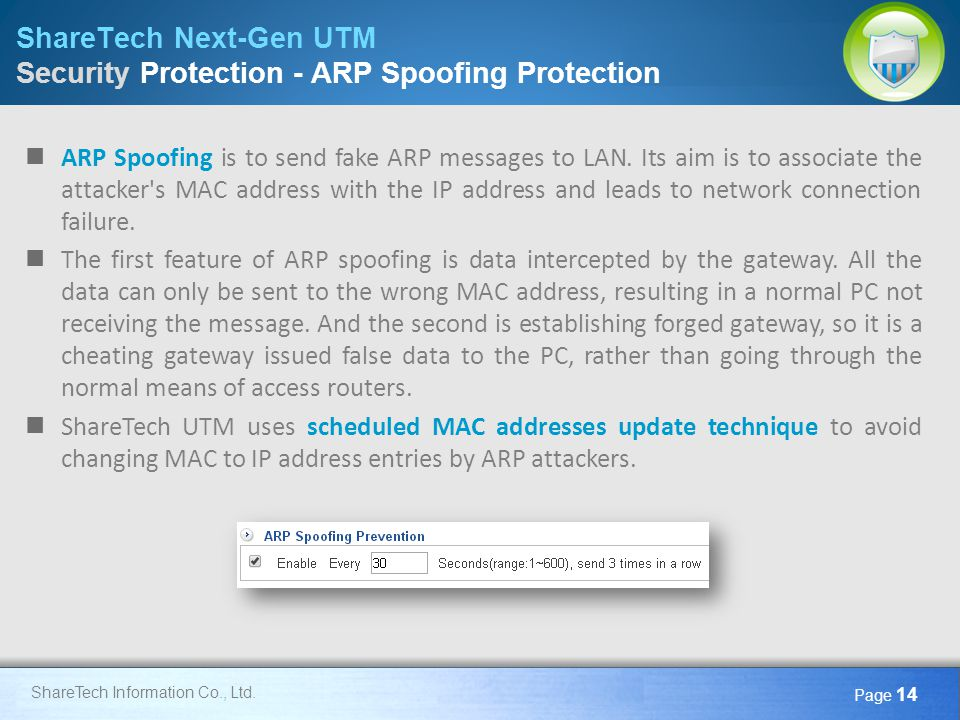 Here comes your footer Page 14 ShareTech Information Co., Ltd. ShareTech Next-Gen UTM Security Protection - ARP Spoofing Protection ARP Spoofing is to