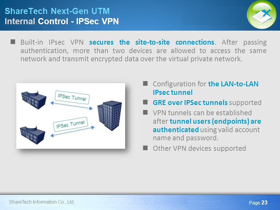 Here comes your footer Page 23 ShareTech Information Co., Ltd. ShareTech Next-Gen UTM Internal Control - IPSec VPN Configuration for the LAN-to-LAN IP