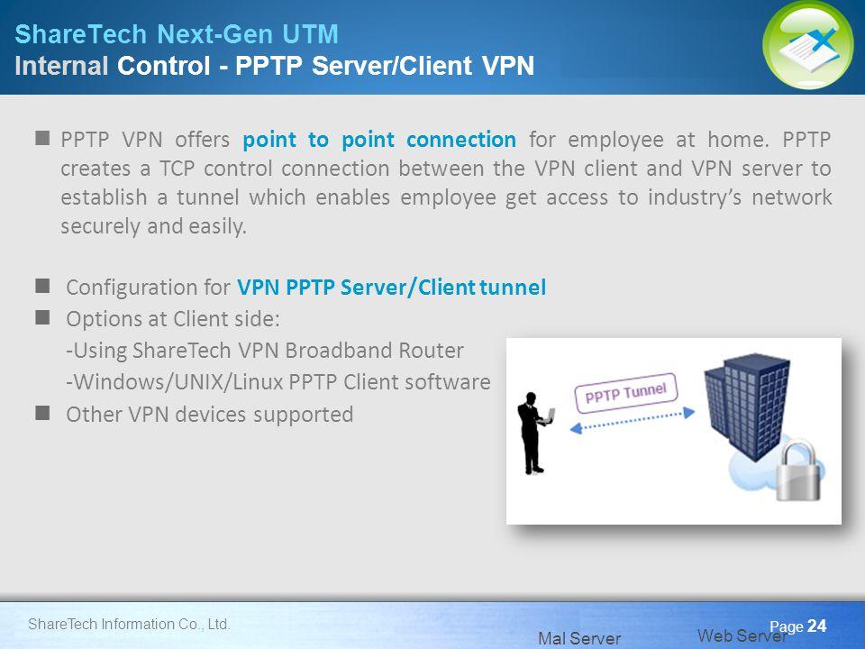 Here comes your footer Page 24 ShareTech Information Co., Ltd. ShareTech Next-Gen UTM Internal Control - PPTP Server/Client VPN Mal Server Web Server