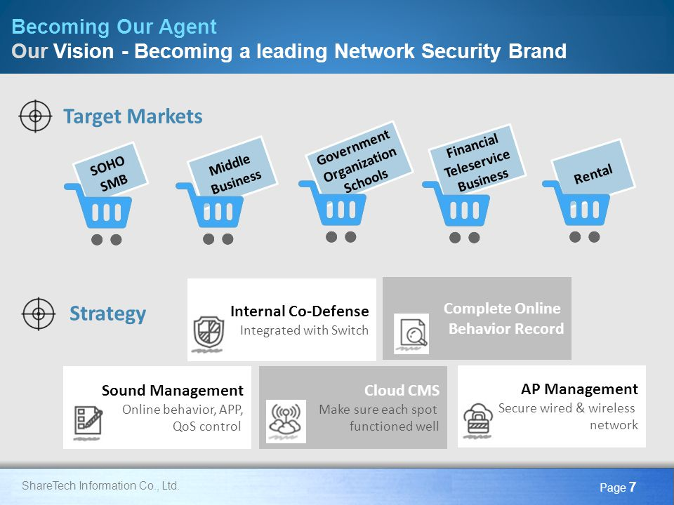 Here comes your footer Page 7 Target Markets Strategy Becoming Our Agent Our Vision - Becoming a leading Network Security Brand SOHO SMB Middle Busine