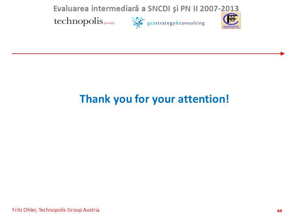 Fritz Ohler, Technopolis Group Austria Evaluarea intermediar ă a SNCDI şi PN II 2007-2013 44 Thank you for your attention!