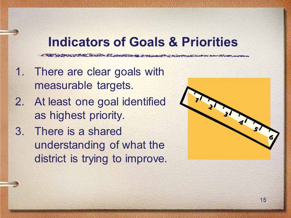 15 Indicators of Goals & Priorities 1.There are clear goals with measurable targets.