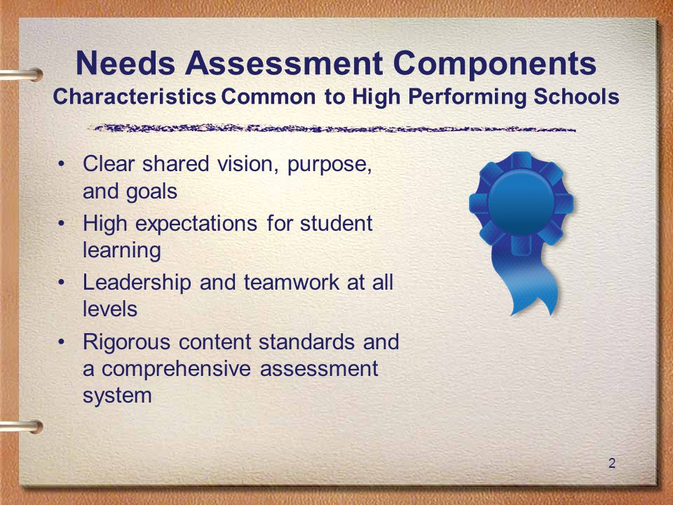 2 Needs Assessment Components Characteristics Common to High Performing Schools Clear shared vision, purpose, and goals High expectations for student learning Leadership and teamwork at all levels Rigorous content standards and a comprehensive assessment system