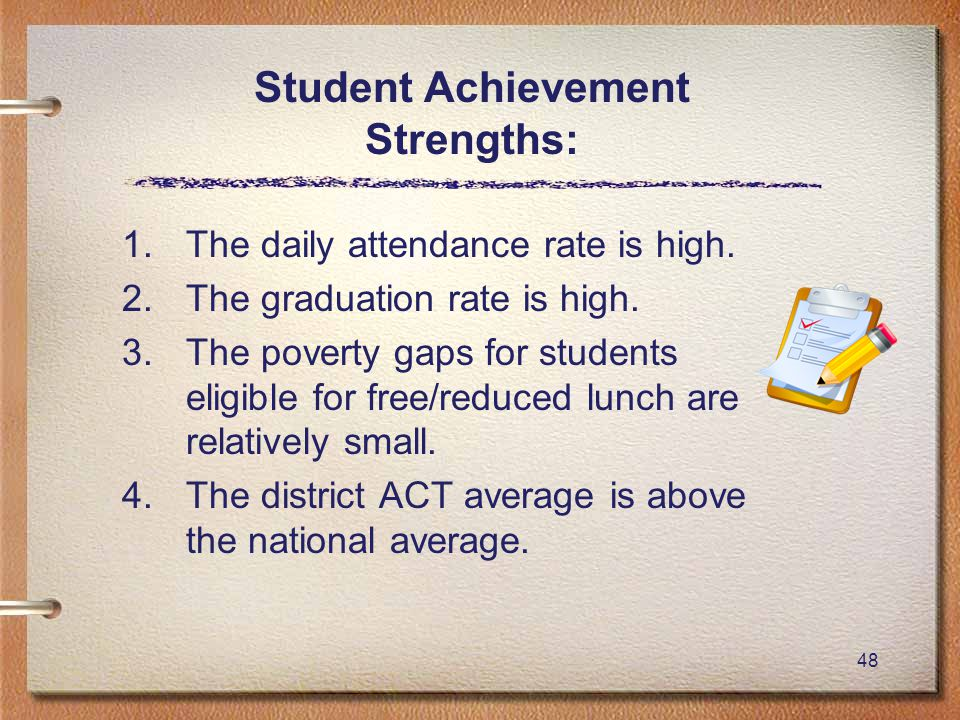 48 Student Achievement Strengths: 1.The daily attendance rate is high.