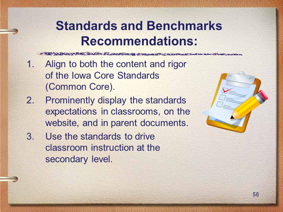 56 Standards and Benchmarks Recommendations: 1.Align to both the content and rigor of the Iowa Core Standards (Common Core).